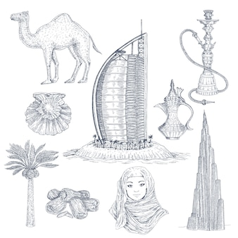 Dubai drawn elements set