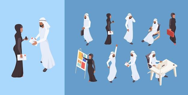 Dubai mann saudi frau geschäftsleute arabische unternehmer charaktere illustrationen