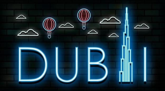 Dubai-reise und neonlichthintergrund der reise.