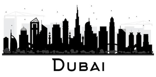 Dubai uae city skyline schwarz-weiß-silhouette. vektor-illustration. einfaches flaches konzept für tourismuspräsentation, banner oder website. geschäftsreisekonzept. stadtbild mit wahrzeichen.