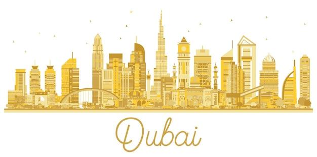 Dubai vae city skyline goldene silhouette. einfaches flaches konzept für tourismuspräsentation, banner oder website. geschäftsreisekonzept. stadtbild mit wahrzeichen. vektor-illustration.