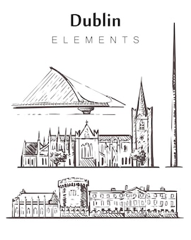 Dublin stellte skizzengebäude auf weiß ein