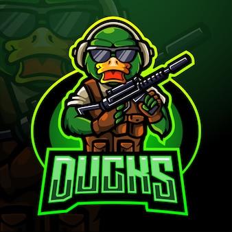 Duck warrior esport logo. maskottchen design