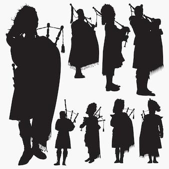 Dudelsackspieler silhouette set