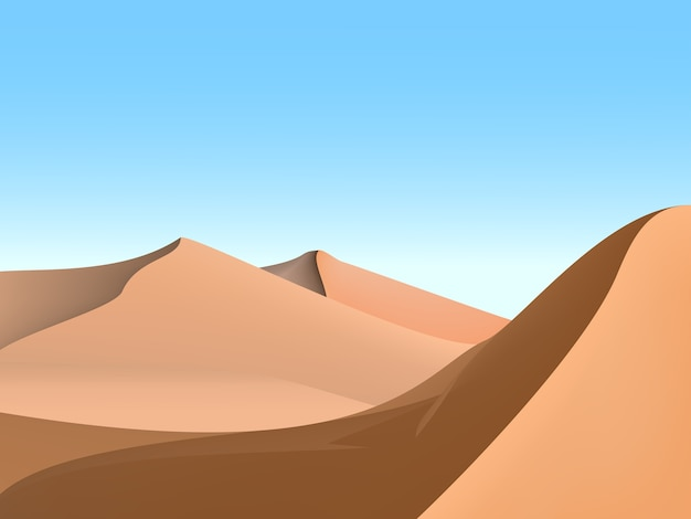 Dünen und himmel, wüstenlandschaftsillustration