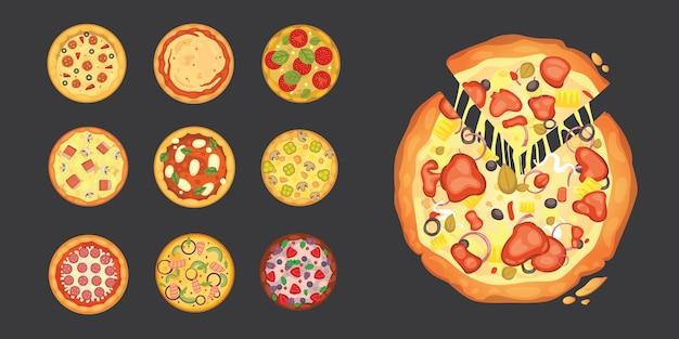 Dünn geschnittene peperoni sind eine beliebte pizza. italienische koch- und pizzalieferung.