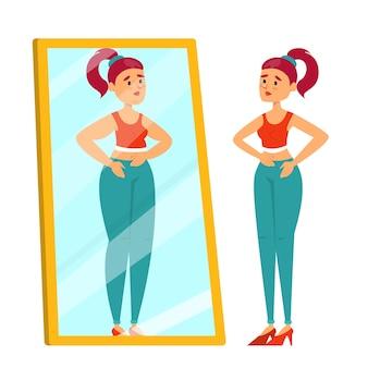 Dünne frau, die den spiegel auf fettreflexion betrachtet. an magersucht leiden.