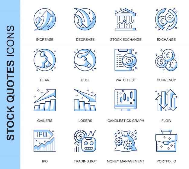 Dünne linie aktienkurse in verbindung stehende ikonen eingestellt