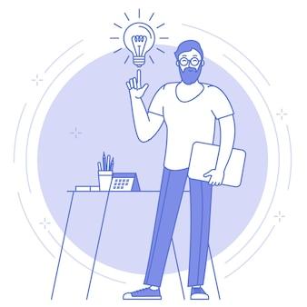 Dünne linie blaue ikone der hellen idee, der kreativen und geschäftslösung mit dem jungen mann, der vor der großen bürouhr steht.