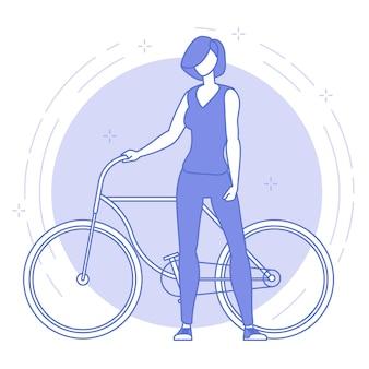 Dünne linie blaue ikone der jungen frau mit fahrrad.
