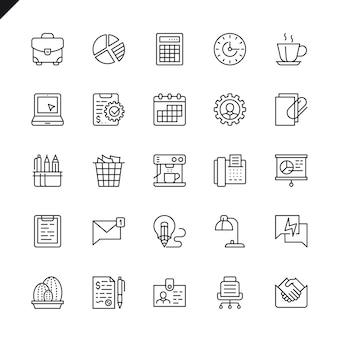 Dünne linie büro icons set