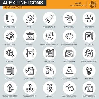 Dünne linie design-tools, kunst und medien icons set