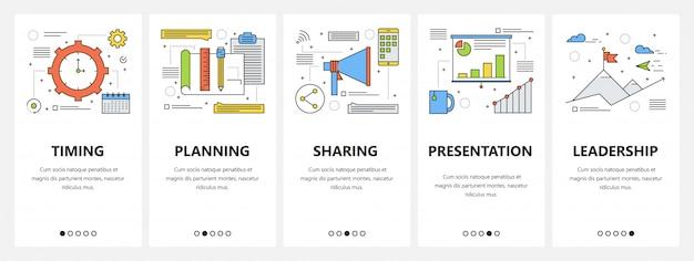 Dünne linie flaches design business meeting konzept vertikale banner