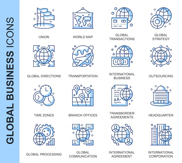 Dünne linie globale geschäftsverwandte ikonen eingestellt
