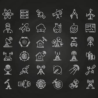 Dünne linie ikonen der wissenschafts- und bahnkommunikation auf tafel