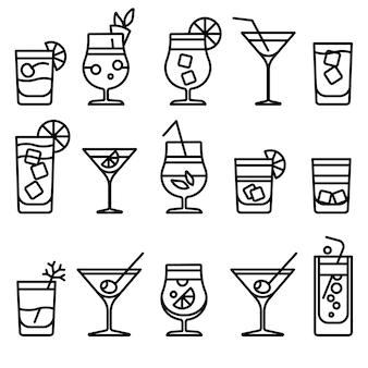 Dünne linie ikonen des cocktails