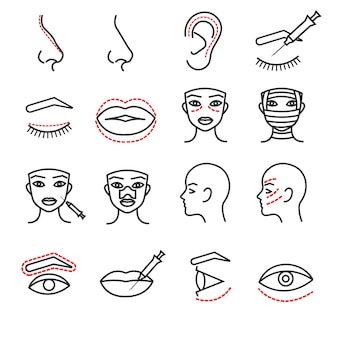 Dünne linie ikonen des kosmetischen plastikgesichtschirurgievektors eingestellt