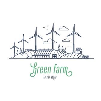 Dünne linie illustration des grünen bauernhofkonzeptes