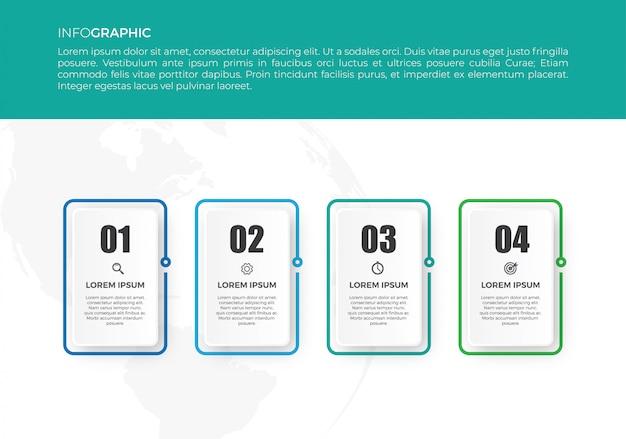 Dünne linie infografik mit zahlen, optionen oder schritten