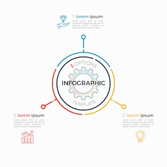 Dünne linie infografik vorlage 3 optionen. editierbarer diagrammstrich.