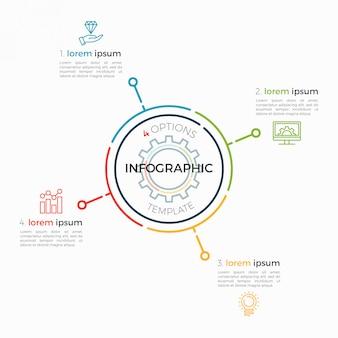 Dünne linie infografik vorlage 4 optionen. editierbarer diagrammstrich.