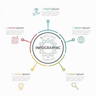 Dünne linie infografik vorlage 5 optionen. editierbarer diagrammstrich.