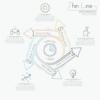 Dünne linie infographic schablone des minimalen pfeilgeschäftszyklus