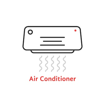 Dünne linie klimaanlagensymbol. konzept von celsius, auffrischen, kälte, einfrieren, ionisator, warm. flacher umrissstil trend moderne klimaanlage logo design vector illustration auf weißem hintergrund