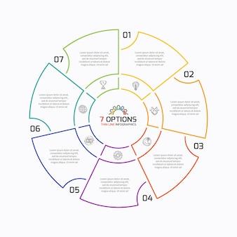 Dünne linie kreisdiagramm infografik-vorlage mit 7 optionen. vektor-illustration.