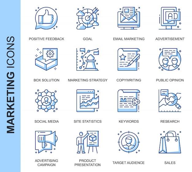 Dünne linie marketing in verbindung stehende ikonen eingestellt