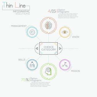 Dünne linie minimale infografiken optionen banner