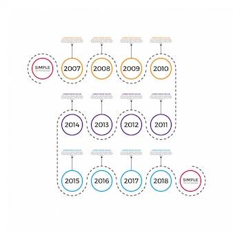 Dünne linie minimale infographic-designschablone mit jahr.