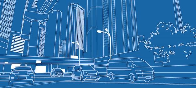 Dünne linie mit wolkenkratzern und autos auf der straße