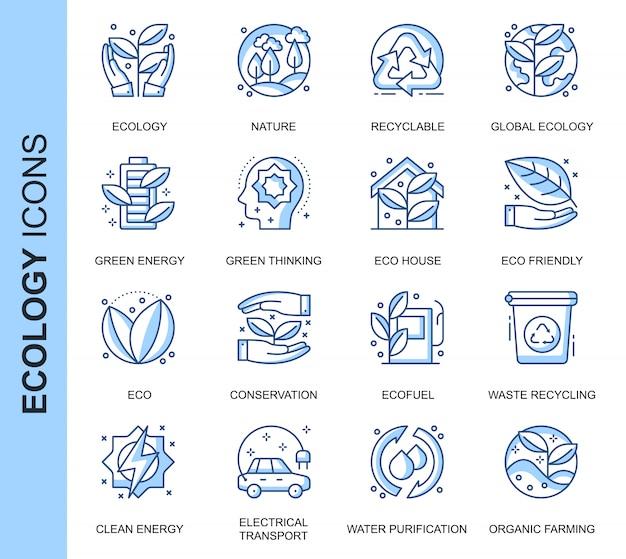 Dünne linie ökologie in verbindung stehende ikonen eingestellt