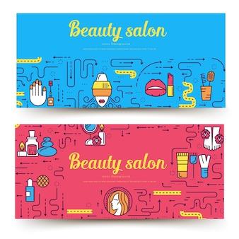 Dünne linie schönheitssalon mit sortimentskartensatz. kosmetikschablone von flyear, buchumschlag, banner.