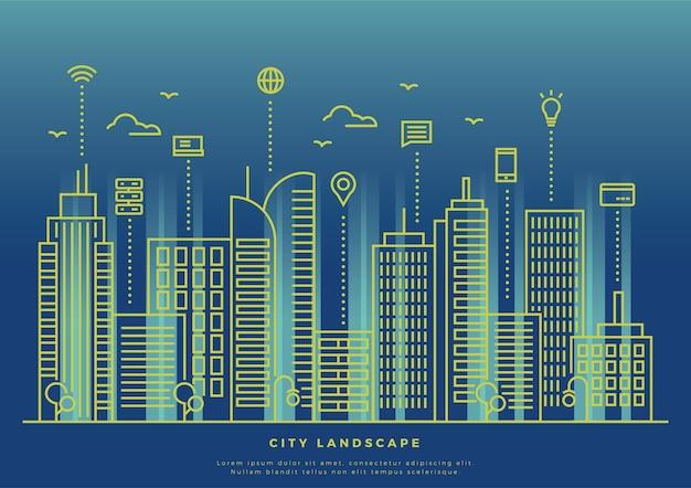 Dünne linie smart city