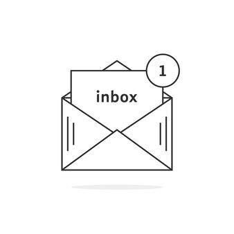 Dünne linie symbol für neue nachrichten. konzept der e-mail-benachrichtigung, 1 sms, benutzeroberfläche, office-spam, erinnerung, datenübertragung, chat. flache lineare stiltrend moderne logo-design-vektor-illustration auf weißem hintergrund