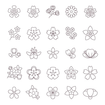 Dünne linie vektorikonen der frühlingsblume eingestellt