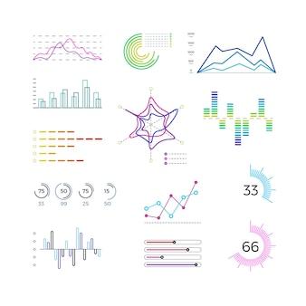 Dünne liniendiagrammelemente für infografik. vorlagen für umrissdiagramme und lineare diagramme