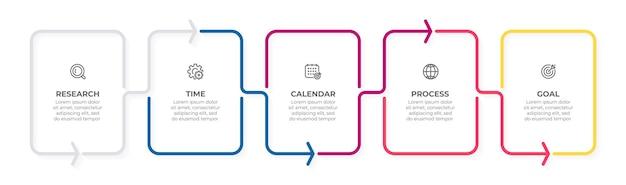 Dünne linienelemente für infografik-geschäftskonzept mit 5 optionsschritten oder prozessen