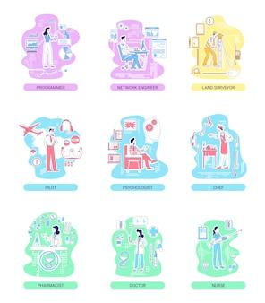 Dünne linienkonzeptabbildungen für medizin- und it-, dienstleistungs- und industrieberufe. männliche und weibliche arbeiter 2d-zeichentrickfiguren für webdesign. berufsberatung kreative ideen