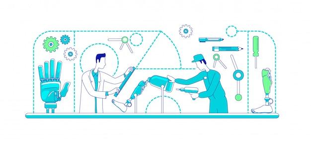 Dünne linienkonzeptillustration der medizinischen prothetik