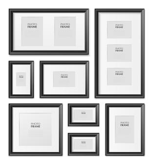 Dünne schwarze rechteckige bilderrahmen in verschiedenen größen aus holz, metall, kunststoff, realistisches modell
