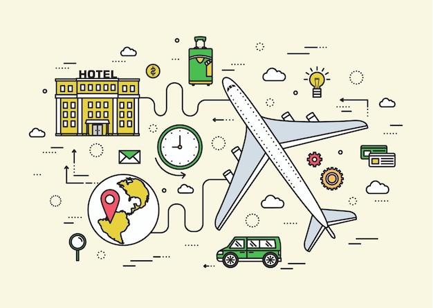 Dünnes linienreiseurlaub modernes konzept. infografik weg vom flugzeug zum hotel.