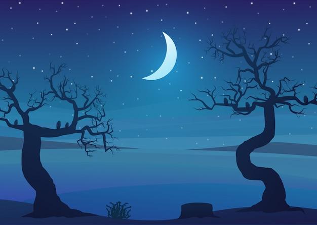 Dürrengebietslandschaft nachts mit toten bäumen