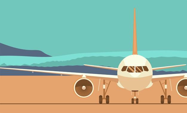 Düsenflugzeug auf dem hintergrund einer abstrakten landschaft. vorderansicht. flache artillustration.