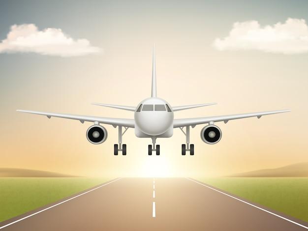 Düsenflugzeug auf landebahn. flugzeugstart von der zivilfluglinie zu den realistischen illustrationen des blauen himmels