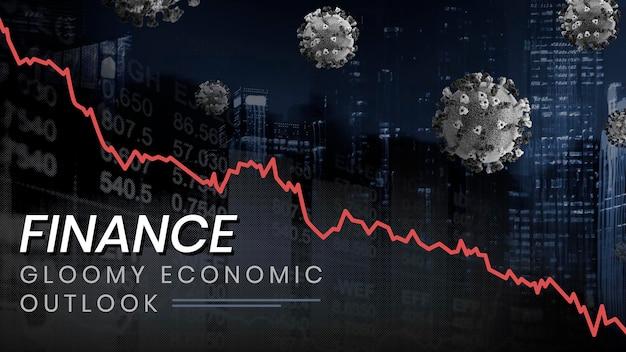 Düsterer wirtschaftlicher ausblick sozialer vorlagenvektor