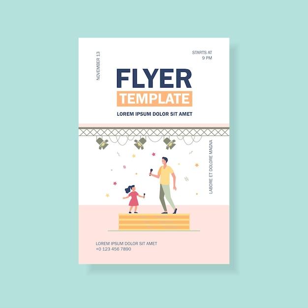 Duett-flyer-vorlage für kinder- und erwachsenensänger