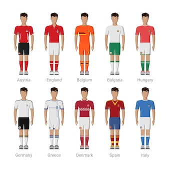 Dummy-spieler-uniformschablonen-symbolsatz der europäischen fußballnationalmannschaft.